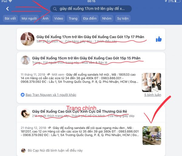 Giày đế xuồng trang facebook